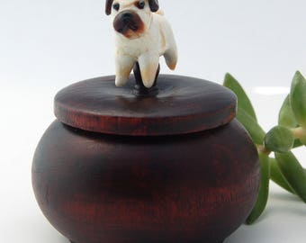 Tiny Wood Trinket Box with Lampwork Glass Pug Dog Topper Knob/Finial