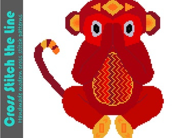 Speak no evil. Modern cross stitch pattern in bright reds. Contemporary design of a little monkey. Tribal embroidery chart.
