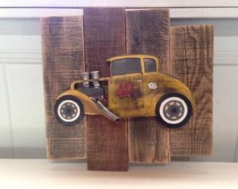 Hot Rod Pallet wood art