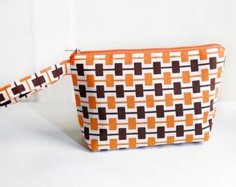 Black and Orange retro cosmetic / make up pouch