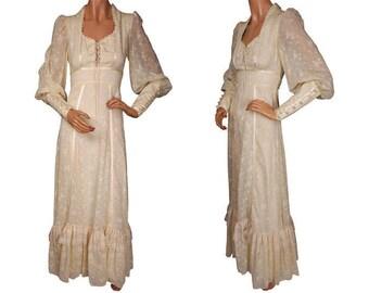 Vintage 1970s Gunne Sax by Jessica Voile Cotton Maxi Dress - Cream White - S
