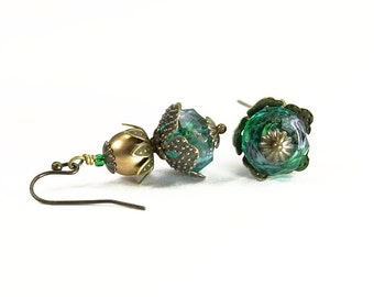 Aqua Blue Crystal and Brass Filigree Vintage Style Earrings