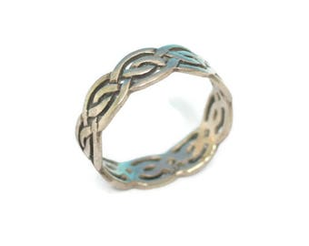 Sterling Silver Celtic Style Ring Woven Design Size 6.5 Vintage