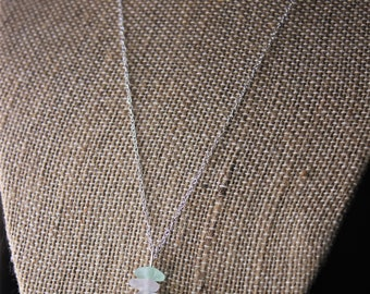 Lake Superior Stacked Sea Glass & Beach Stone, Sterling Silver Necklace // Basalt // Beach Glass // Duluth MN // Dainty Jewelry
