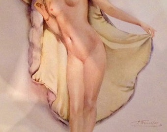INCOGNITO  MEUNIER UNCIRCULATED 1929 Litho French Art Deco Masked Flapper Pinup Open Coat Nude Costume Party Vintage 89year condition Pin-Up
