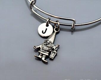 Garden Gnome bangle, Gnome bracelet, Gnome with Lantern, Garden Gnome charm, Expandable bangle, Personalized bracelet, Initial bracelet