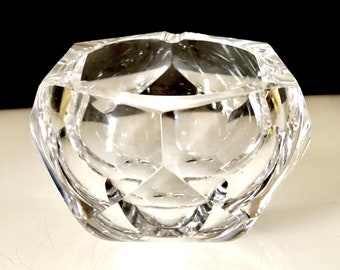 Vintage 1950s Boda Faceted Crystal Bowl Ashtray Swedish Mid Century Modern