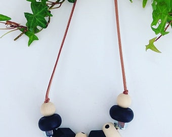Handmade, Wooden and Hand Painted Beaded Necklace with Spots and a Hint of Steel