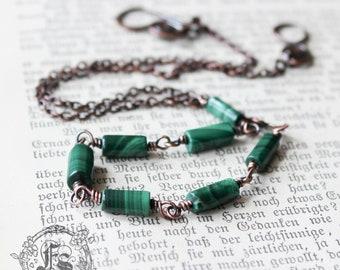 Seven Wonders Necklace in Copper and Malachite.