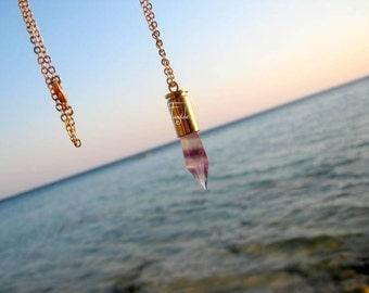 Fluorite  Point  in gold bullet - Necklace - OOAK