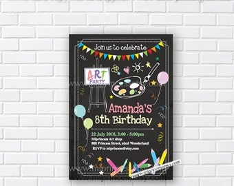 painting party, art birthday party, kids birthday party, coloring party, crayon party, drawing birthday, craft party, art party, card 345