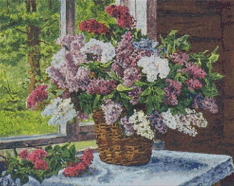 Lilacs Cross Stitch Chart, Lilacs by the Window Cross Stitch Pattern PDF, Art Cross Stitch, Pyotr Konchalovsky, Embroidery Chart