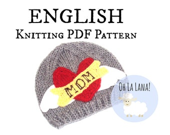 Rocker hat Knitting PATTERN for babies and toddlers - ENGLISH - DIY Valentines hat pattern - Love mom hat pattern - Instant download