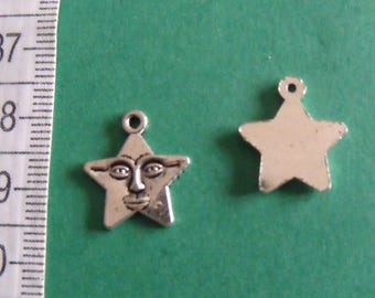 4 silver charms star smile 16mmx15mm
