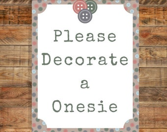 Cute as a Button Please Decorate a Onesie Sign Baby Shower Game Instant Download Printable