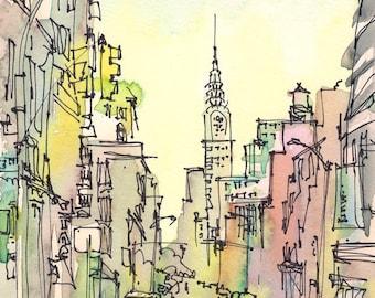 New York Sketch, Chrysler Building, New York City - print from an original watercolor sketch