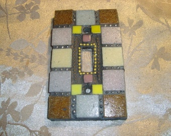 MOSAIC Light Switch Plate -  Single Switch, Wall Plate, Home Decor, Tan, Light Gray, Yellow, Rose, Gold and Copper