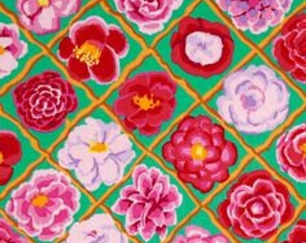 Green with Red, Pink Flower - Laminated Cotton Fabric - Kaffe Fasset - Camellia in Pink - By the Yard