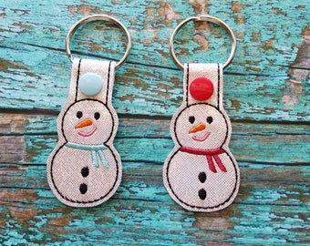 Sparkly Snowman with Scarf Keychain