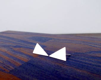 The Big Triangle Silver Stud Earrings. Pair of Recycled Sterling Triangle Earrings. Two Large Silver Studs. Handmade Stylish Summer Glam.