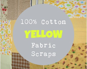 Yellow Fabric Scrap Bundle, 1/2 Pound of Scraps, Yellow Fabric Scraps, 100% Cotton