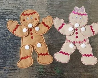 Moveable gingerbread boy and girl
