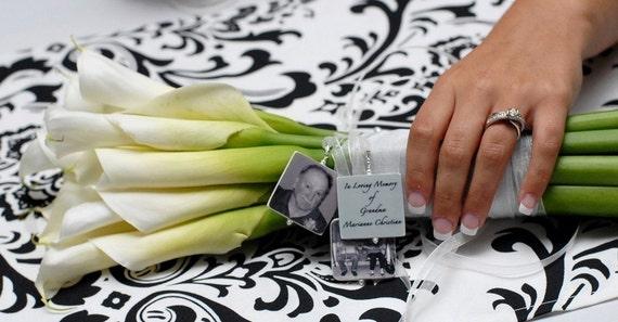 BC1x3 - Bridal Bouquet Charms - 3 Lg.Memorial Photo Pendants - Custom Bouquet Jewelry