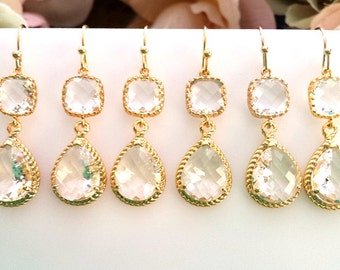 Clear crystal Earrings, gold wedding earrings, Drop, Dangle Earrings,bridesmaid gifts, Bridal gift,Wedding jewelry, Bridesmaid earrings