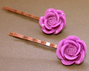 Purple Flower Bobby Pins - Acrylic Floral Cabochon Hair Pins