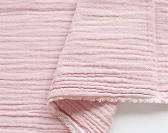 Crinkled Double Gauze Fabric Light Pink By the Yard