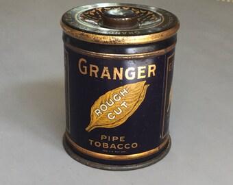 Vintage Tobacco Tin / Granger Tobacco Tin / Vintage Tin Box / Decorative Tin Canister/ Colorful Vintage Tin