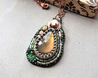 Labradorite Pendant Statement Necklace Copper Chain Beaded Crystal Embroidery