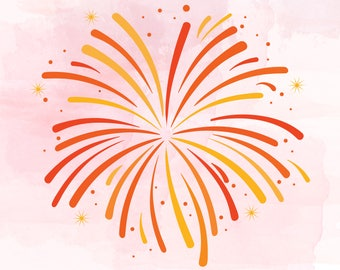 New Year Fireworks svg,  Fireworks cut file, New Year celebration Svg,  Salute Svg | Fireworks clipart | New Years Cutting File