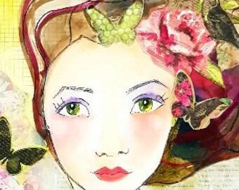 Butterfly Art, Whimsical Girl,GardenTheme,Art Print, Friend Gift,Wall Art, Pink Floral,Australian Art, A4 Print, under 25, by Tina Maher Art