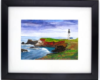 Original Watercolour Seascape Painting, 5x7 inch Lighthouse Painting, Framed Watercolour Ocean Painting