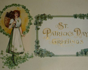 U/S Schmucker Pretty Irish Lass With Basket and Shamrocks Antique St. Patrick's Day Postcard