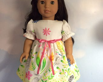 """Playful garden dress fits 18"""" American girl dolls and dolls similar to size"""