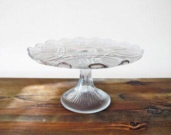 Vintage Pedestal Dessert or Cake Stand Molded Glass