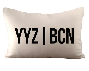 Airport Codes - Customizable - Cushion Cover - 12x18