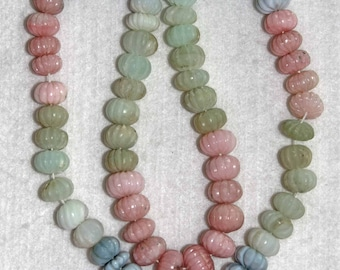 Opal, Peruvian Opal, Multicolor Opal, Fluted Rondelle, Opal Rondelle, Blue Pink Green, Natural Stone, Semi Precious, 7-9mm, AdrianasBeads