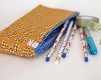 Pencil holder, Yellow blue Pouch, Zipper pouch, Planner- School- Stationary supply bag, Purse pouch, box zipper pouch, Clutch purse makeup