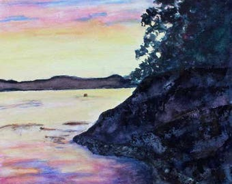 Original Watercolor Painting Landscape painting Sunset Tofino Vancouver Island Ocean Painting Giclee Print Magnet Carol Lytle FREE SHIPPING