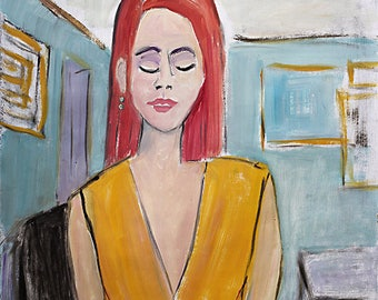 Departraits Painting- Oil on Paper, Female Figure, Detroit Expressionism