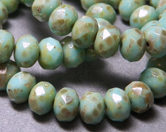 Czech Light Green with Gold Picasso Glass Rondelle Beads (25) 0624-P