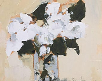 flower painting palette knife painting white floral contemporary design  pamela munger