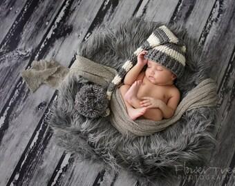 Newborn Elf Hat, Newborn Photo Prop, Sleepytime Cap, Infant Longtail Hat, Newborn Photo Prop, Gray And Cream Hat, Newborn Crochet Hat