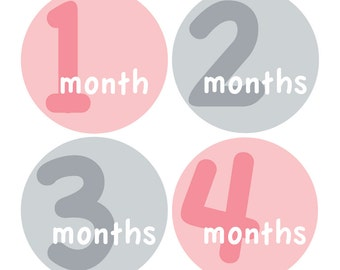 12 Monthly Baby Milestone Waterproof Glossy Stickers - Just Born - Newborn - Weekly stickers available - Design M014-06