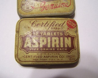 Collection of 3 vintage Aspirin metal containers , 1 dated 1939 ,1 for NRA
