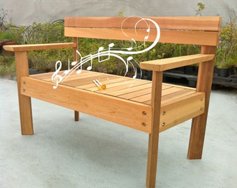Musical Garden Bench, marimba cedar bench, musical garden bench, educational park bench