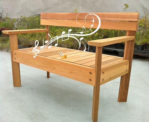 Items Similar To Musical Garden Bench, Marimba Cedar Bench, Musical Garden  Bench, Educational Park Bench On Etsy